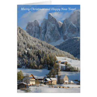 Dolomites Alps village Christmas card