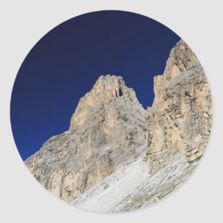 Dolomites at morning classic round sticker