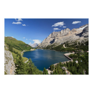 Dolomites - Fedaia lake and pass Poster