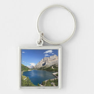 Dolomites - Fedaia lake and pass Silver-Colored Square Keychain