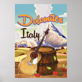 Dolomites Italian vacation poster