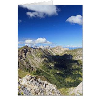 Dolomites landscape on summer card