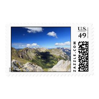 Dolomites landscape on summer stamps