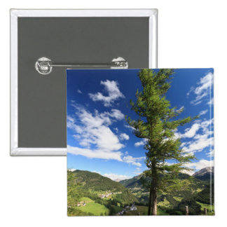 Dolomites - tree over the valley pinback button