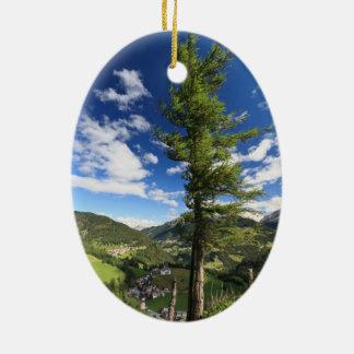 Dolomites - tree over the valley ceramic ornament
