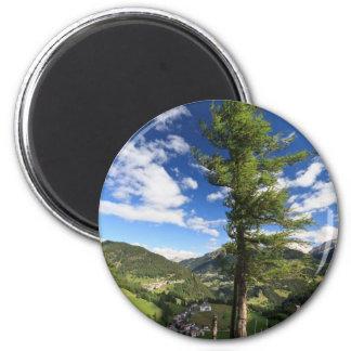 Dolomites - tree over the valley fridge magnets