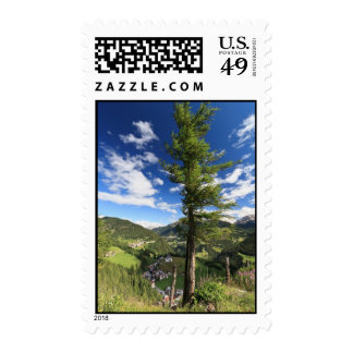 Dolomites - tree over the valley stamp