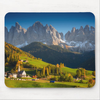 Dolomites village in fall mousepad