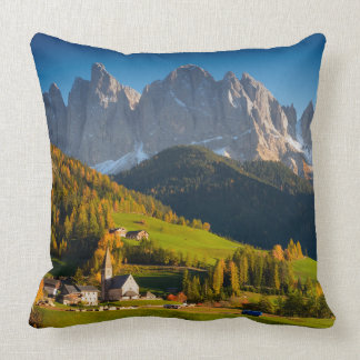 Dolomites village in fall throw pillow