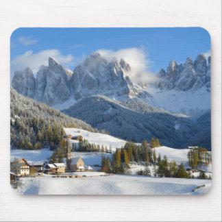 Dolomites village in winter mousepad
