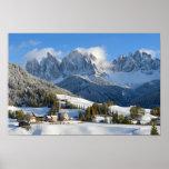 Dolomites village in winter poster