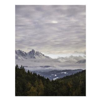 Dolomites winter scene letterhead design