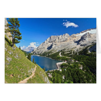 Dolomiti - Fedaia pass with lake Greeting Card