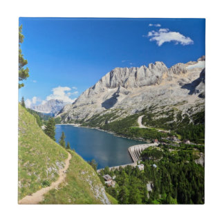 Dolomiti - Fedaia pass with lake Small Square Tile