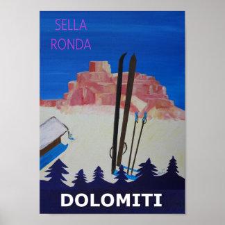 Dolomiti Sella Ronda Retro Poster
