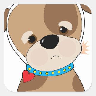 Dolor de muelas del perrito pegatina cuadrada