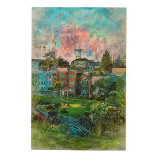 Dolores Park AKA Hipsters Wonderland San Francisco Wood Print