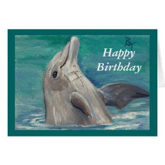 Dolphin aceo Birthday Card