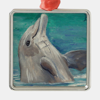 Dolphin aceo metal ornament