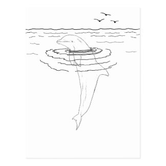 Dolphin Adult Coloring Postcard