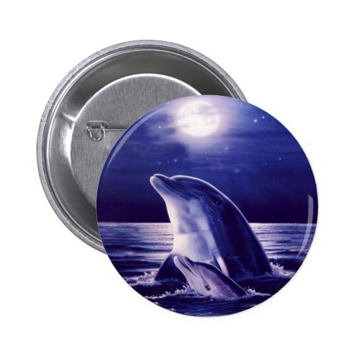 Dolphin and Baby 2 Inch Round Button