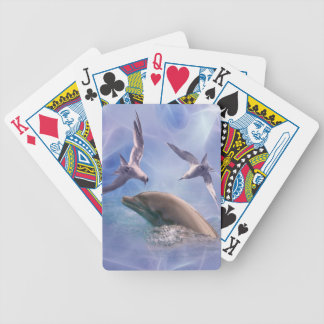 Dolphin and diving birds bicycle playing cards