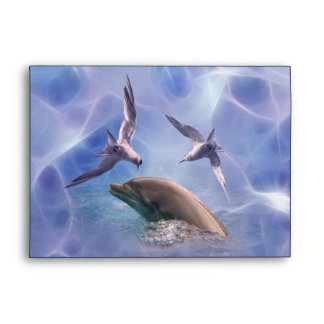 Dolphin and diving birds envelope