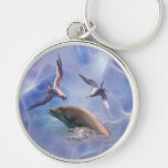 Dolphin and diving birds key chains