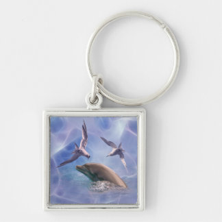 Dolphin and diving birds keychain