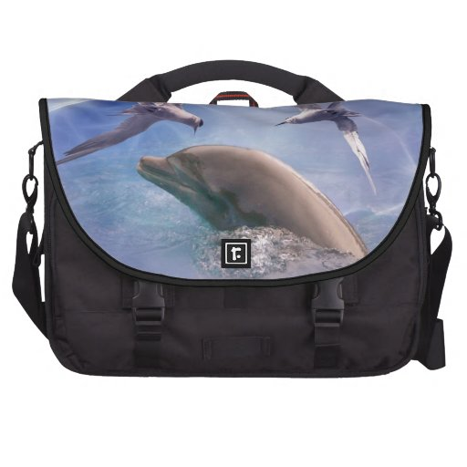 Dolphin and diving birds laptop commuter bag