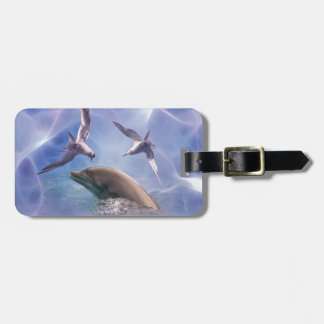 Dolphin and diving birds travel bag tag