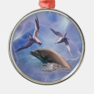 Dolphin and diving birds metal ornament