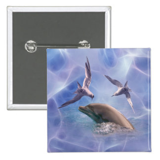 Dolphin and diving birds pinback button