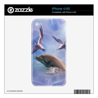 Dolphin and diving birds iPhone 4S decal