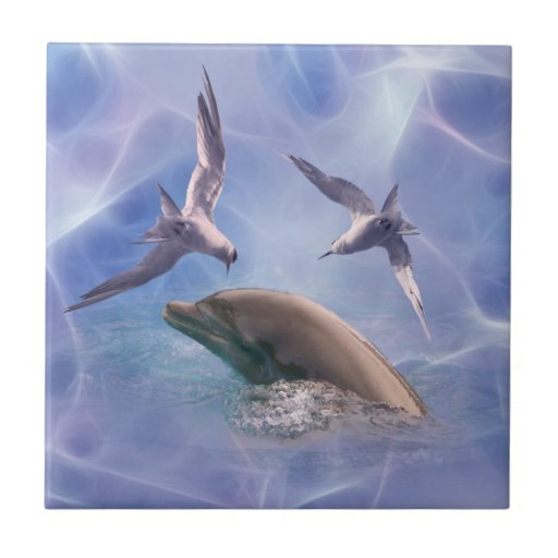 Dolphin and diving birds small square tile