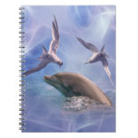 Dolphin and diving birds spiral note book