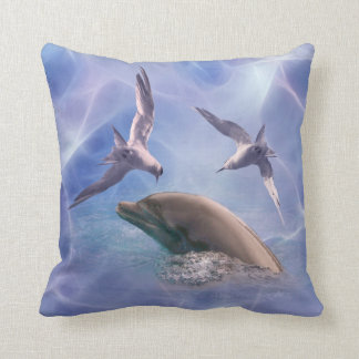 Dolphin and diving birds throw pillow