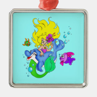 Dolphin and Mermaid Ornament
