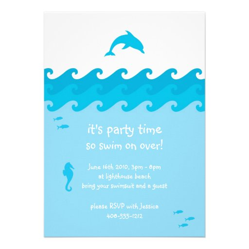 Personalized fish birthday invitations custominvitations4u dolphin and ocean waves invitation card filmwisefo Gallery
