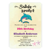 Dolphin and Starfish Tropical Themed Birthday Invitation