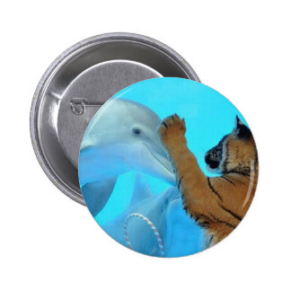 Dolphin and Tiger meet 2 Inch Round Button