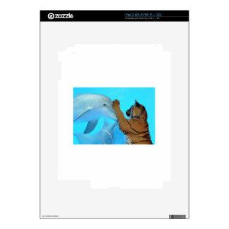 Dolphin and Tiger meet iPad 2 Skins