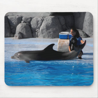 Dolphin and trainer in Spain Mouse Pad