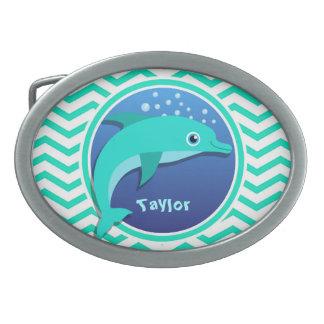 Dolphin; Aqua Green Chevron Oval Belt Buckle
