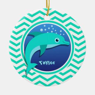 Dolphin; Aqua Green Chevron Ceramic Ornament