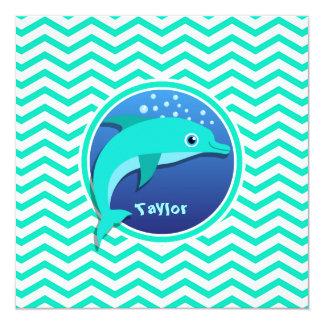 Dolphin; Aqua Green Chevron Invitation