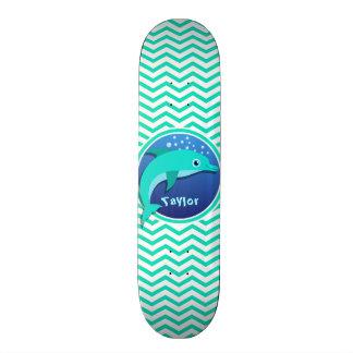 Dolphin; Aqua Green Chevron Skateboard
