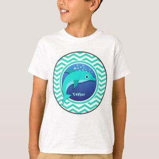 Dolphin; Aqua Green Chevron T-Shirt