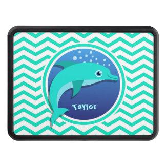Dolphin; Aqua Green Chevron Tow Hitch Cover