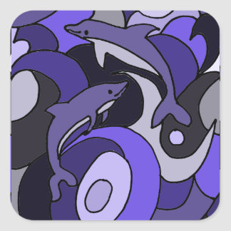 Dolphin Art Abstract Design Square Sticker